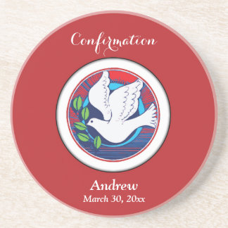 Confirmation, Dove Colorful, Round Coaster