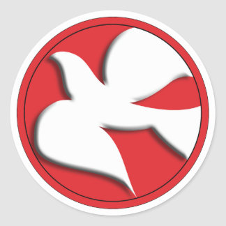 Confirmation Dove in Red Circle Round Sticker