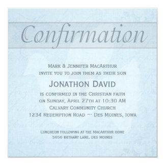 "Confirmation Holy Spirit Dove and Cross Blue 5.25"" Square Invitation Card"