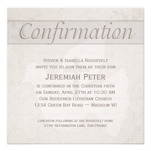 Confirmation Holy Spirit Dove and Cross Taupe Personalized Invites