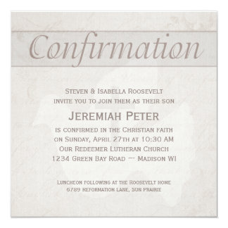 "Confirmation Holy Spirit Dove With Cross Taupe 5.25"" Square Invitation Card"