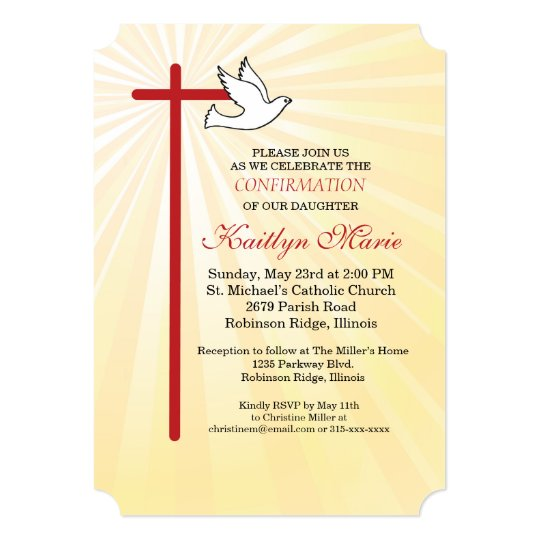 free printable confirmation invitations template - confirmation invitation red cross dove gold rays