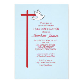 Confirmation Invitation Red Cross & Dove, Lt Blue