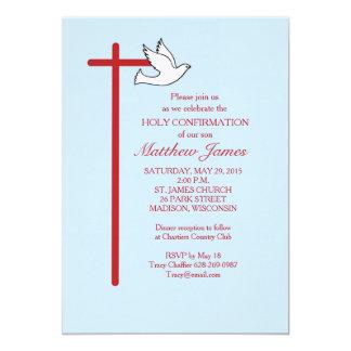 Confirmation Invitation Red Cross & Dove, Lt Blue