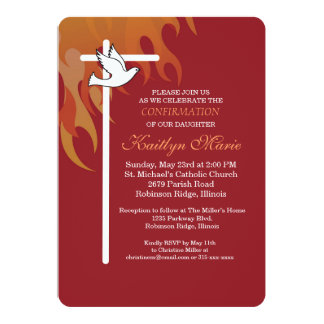Confirmation Invitation White Cross & Dove on Red