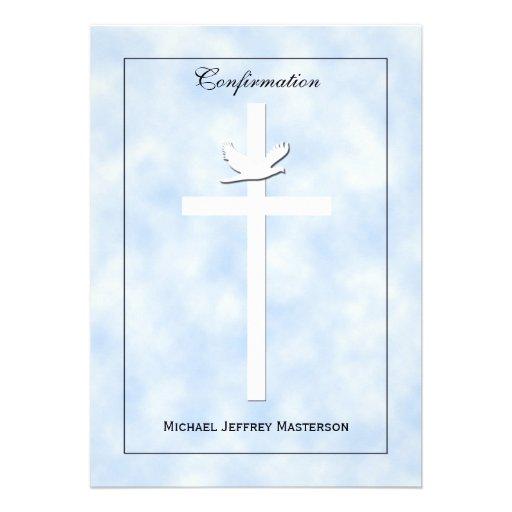 Confirmation Invite - Dove & Cross on Blue Invite Personalized Announcements