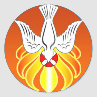 Confirmation Sticker- Holy Spirit and seven flames Round Sticker