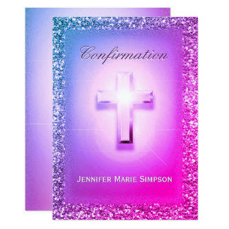 Confirmation with Glowing Cross in Rainbow Colors. Card