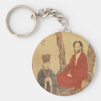 Confucius, Lao-tzu and Buddhist Arhat Basic Round Button Keychain