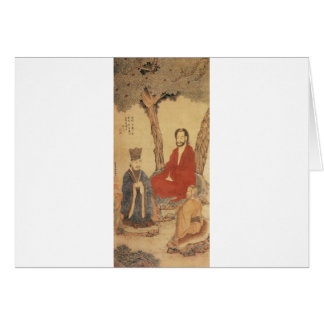 Confucius, Lao-tzu and Buddhist Arhat Card