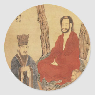 Confucius, Lao-tzu and Buddhist Arhat Classic Round Sticker