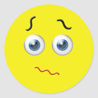 Confused Emoji Classic Round Sticker