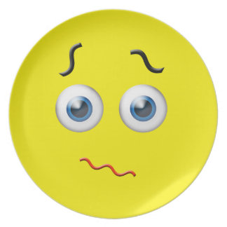 Confused Face Emoji Plate