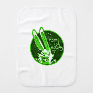 confused funny rabbit says happy birthday cartoon burp cloth
