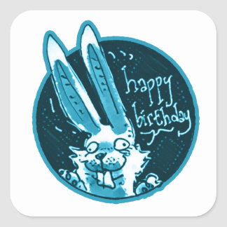 confused funny rabbit says happy birthday cartoon square sticker