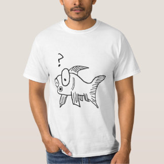 Confused Goldfish - Black and White T-Shirt