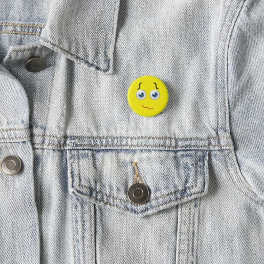 Confused Puzzled Emoji 1 Inch Round Button