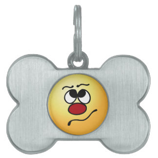 Confused Smiley Face Grumpey Pet Name Tags