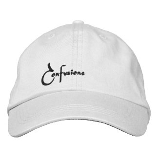 Confusione Black Print Embroidered Hat