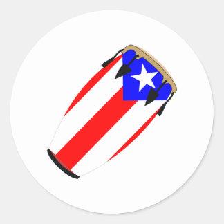 Conga Flag Puerto Rico Classic Round Sticker
