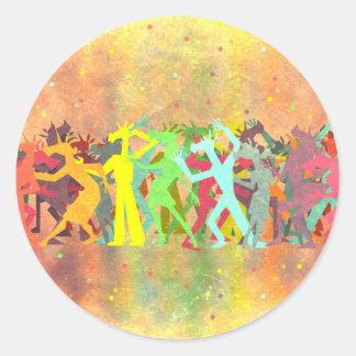 Conga Line Unicorns Classic Round Sticker
