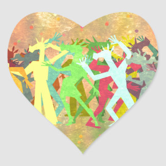 Conga Line Unicorns Heart Sticker