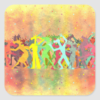 Conga Line Unicorns Square Sticker