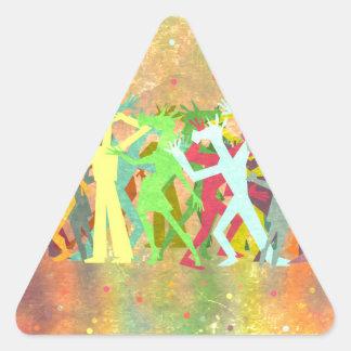 Conga Line Unicorns Triangle Sticker