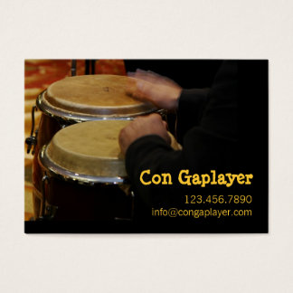 congaplayer's hands on instrument business card
