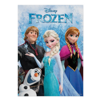 | congelé Anna, Elsa, Kristoff et Olaf Poster