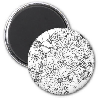 Conglomeration of Flowers 2 Inch Round Magnet