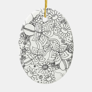 Conglomeration of Flowers Ceramic Oval Ornament