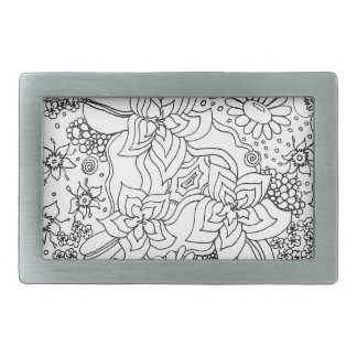 Conglomeration of Flowers Rectangular Belt Buckles