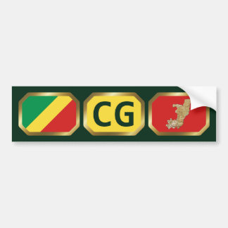 Congo-Brazzaville Flag Map Code Bumper Sticker