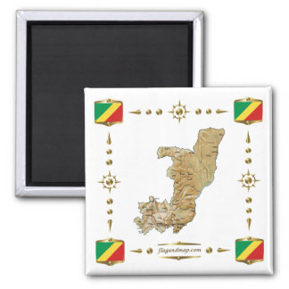 Congo-Brazzaville Map + Flags Magnet