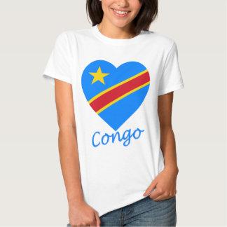 Congo Democratic Republic Flag Heart T Shirt