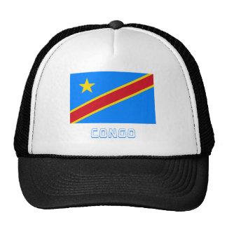 Congo Democratic Republic Flag with Name Mesh Hat