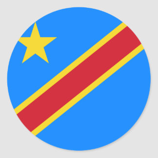 Congo - Democratic Republic of the Congo Flag Round Sticker
