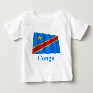 Congo Democratic Republic Waving Flag with Name Baby T-Shirt