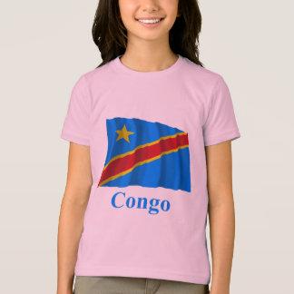 Congo Democratic Republic Waving Flag with Name T Shirts