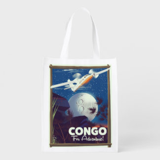 Congo For Adventure! travel poster Reusable Grocery Bag