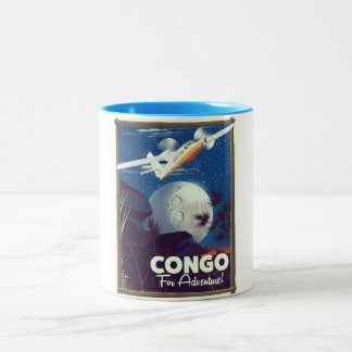 Congo For Adventure! travel poster Two-Tone Coffee Mug
