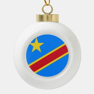 Congo-Kinshasa Flag Ceramic Ball Christmas Ornament