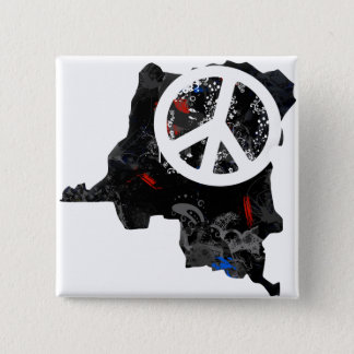 Congo Kinshasa Trendy Peace Sign with Congolese ma 2 Inch Square Button