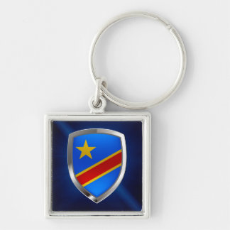 Congo Mettalic Emblem Silver-Colored Square Keychain