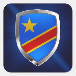 Congo Mettalic Emblem Square Sticker