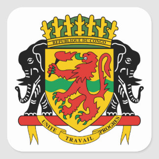 congo republic emblem square sticker