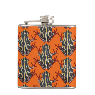 congo tree frog orange hip flask