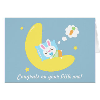 Congrats for New Parents Baby Bunny in Dreamland Card