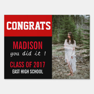 Congrats Grad Bold Red Graduate Photo Sign